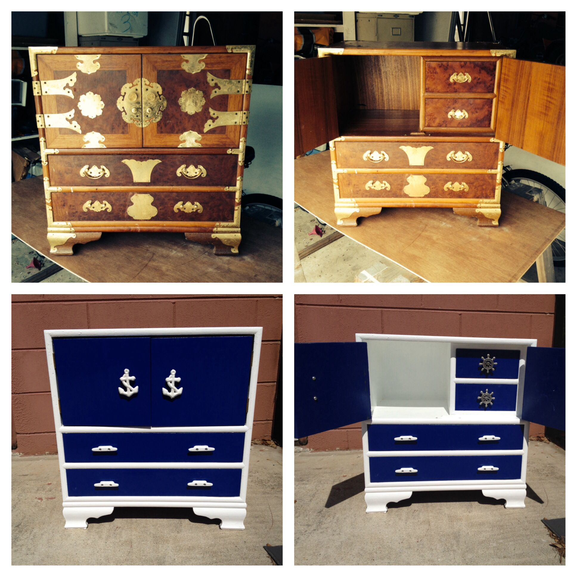 Nautical Themed Nightstand Transformation Behr Sailboat Blue And High Gloss White Boat Cleats Pewter Ships Whe Nautical Theme Boat Cleats High Gloss White