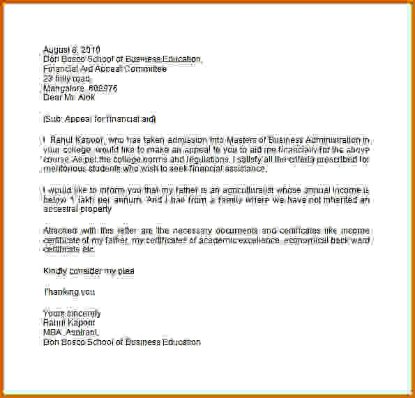 12 Academic Appeal Letter For Financial Aid Lease Template With