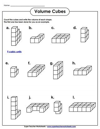 Volume Cubes Worksheet (Easy) | wedding program ideas | Pinterest ...