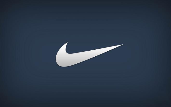 Download wallpapers Nike, logo, emblem, blue background