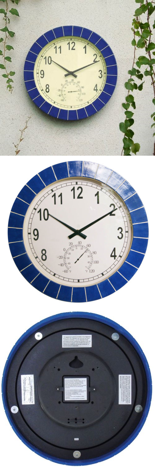 Outdoor Thermometers 75601: Indoor Outdoor Thermometer Temperature Wall  Clock Blue Tile Patio Home Garden