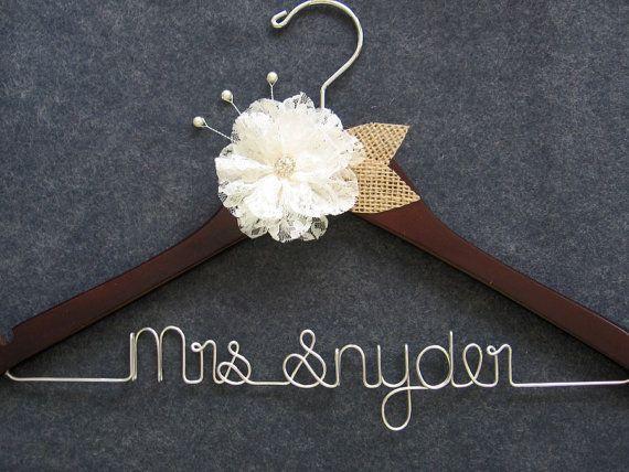 RUSH ORDER - Burlap and Lace Wedding Dress Hanger, Rustic Walnut ...