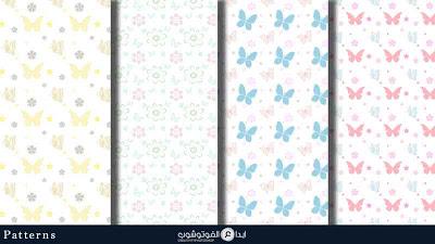 تحميل باترن رسومات فراشات للفوتوشوب Download Butterfly Patterns Butterfly Pattern Pastel Butterflies Background Patterns