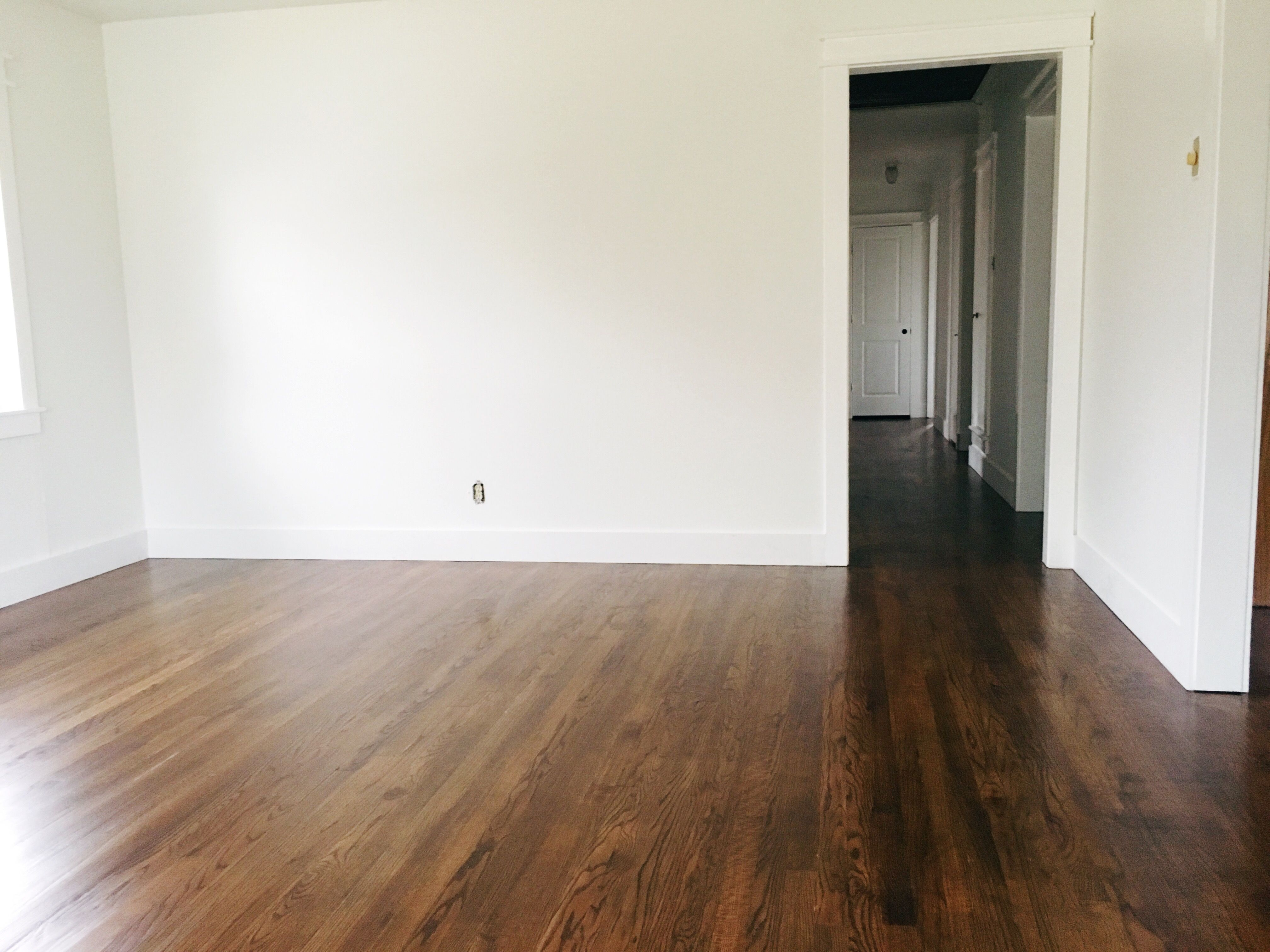 Red oak floors stained with parts minwax special walnut to part