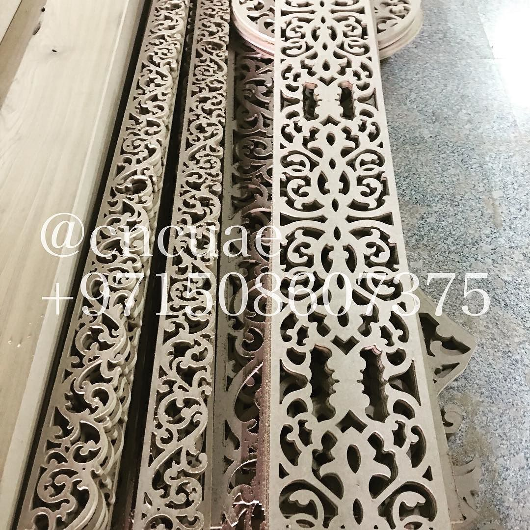 CNCUAE is a one stop solution for all your CNC carving cutting & engraving requirements. We are also specialized in manufacturing customized made to order innovative design components. CNCUAE has the largest production house in the Middle East with skilled personnel and operations running 24/7.  Please call or whatsapp 971 50 8607375 or email at 8607375@gmail.com for more information.  #abudhabi #mashrabiya #mdf #mydubai #sharjah #uae #unitedarabemirates #interiors #dubai #walldecoration…