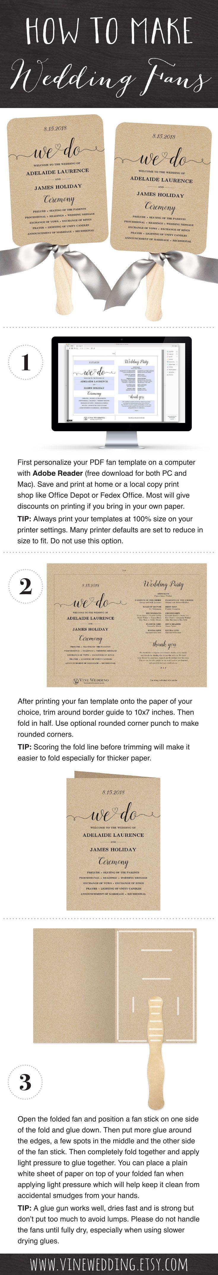 Make your own wedding fans  Easy DIY printable wedding fan templates