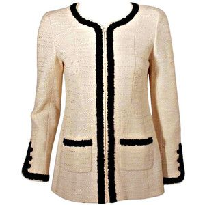 Chanel Cream Jacket w/Black Trim | Chanel | Pinterest | Chanel ...