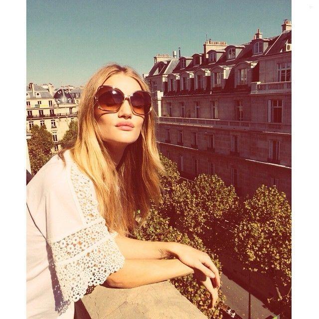 Rosie Huntington-whiteley.. Chloe Top and Chloe 'Marcie' Sunglasses.. Parisian chic..... - Celebrity Fashion Trends