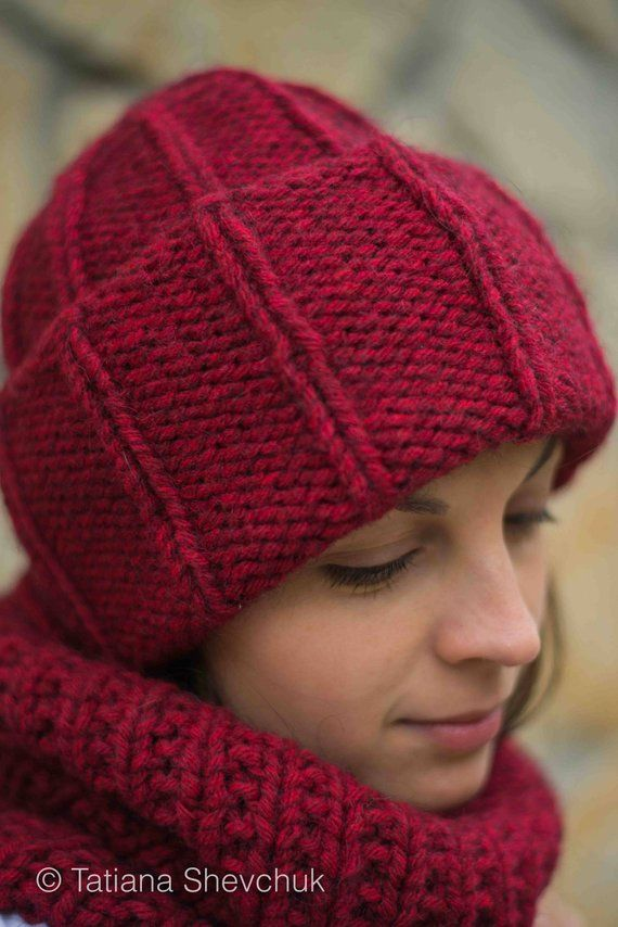 Women knit hat and cowl set Chunky hat Winter hat Neckwarmer for her  Oversized red snood Bulky yarn 03bc74fc260