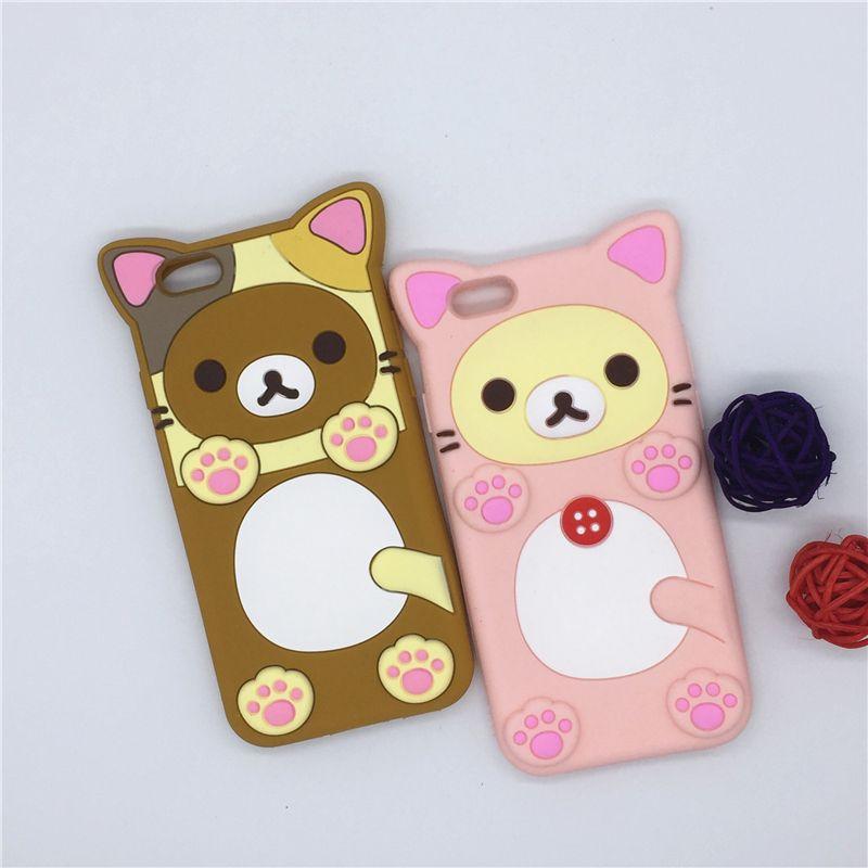 "NEW 3D Cartoon Rilakkuma Bear Cat Case Soft Silicone Cover For Apple iPhone SE 5 5S 5C & 6 6S 7 7S 4.7"" & 6 6S 7 7S Plus 5.5"""