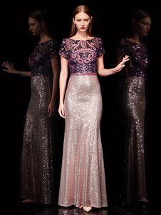 2830ea820396a Evening Dresses Lace Mermaid Prom Dress Sequin Embroidered Maxi Formal Dress  - Milanoo.com