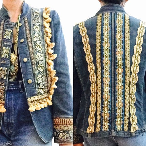 Jacket Denim Upcycled Jeans Military Vintage Embroidered Bohemian tvUwFqF