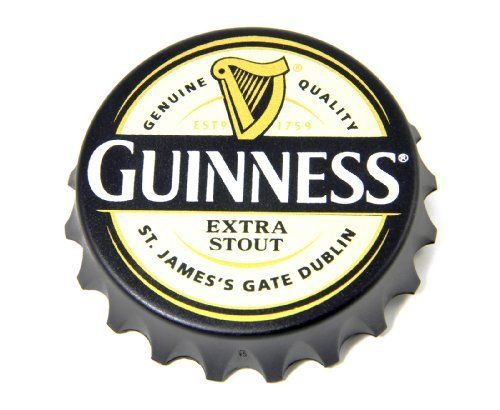 Never Misplace Your Bottle Opener Again This Bottle Opener Fridge Magnet Features An Oversized Bottle Cap Shaped Magnet With Two Guinness Irish Kitchen Stout