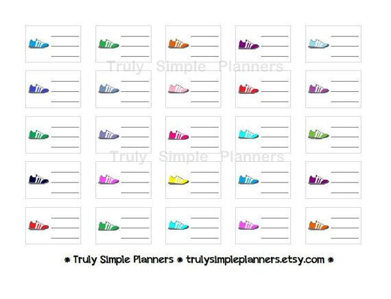 Printable Running Sneakers Stickers for erin condren filofax plum paper planners. instant download weight loss motivation