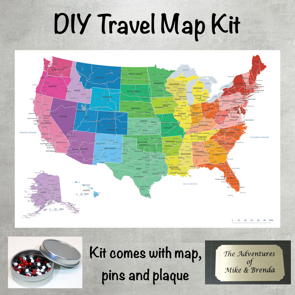 Places To Visit In Us During February: DIY Colorful US Push Pin Travel Map Kit