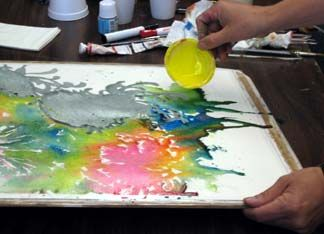 pouring liquid color, fingers with watercolor, controlling paint flow, chrysanthemum watercolor demo