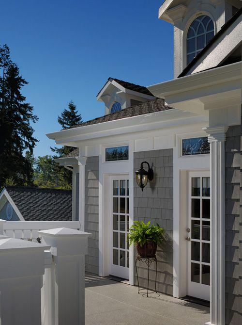 Best Gray Cedar Siding White French Doors Black Light Fixture 640 x 480