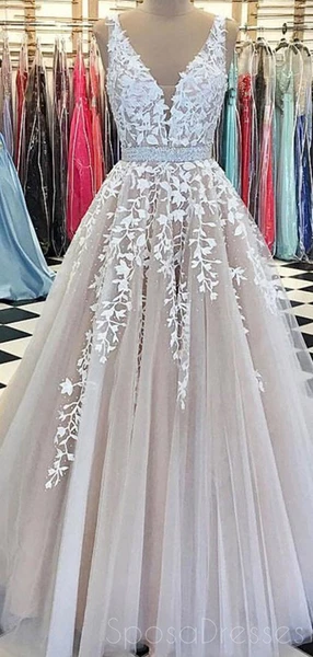 V Neck A-line Lace Cheap Long Evening Prom Dresses, Cheap Custom Sweet 16 Dresses, 18534