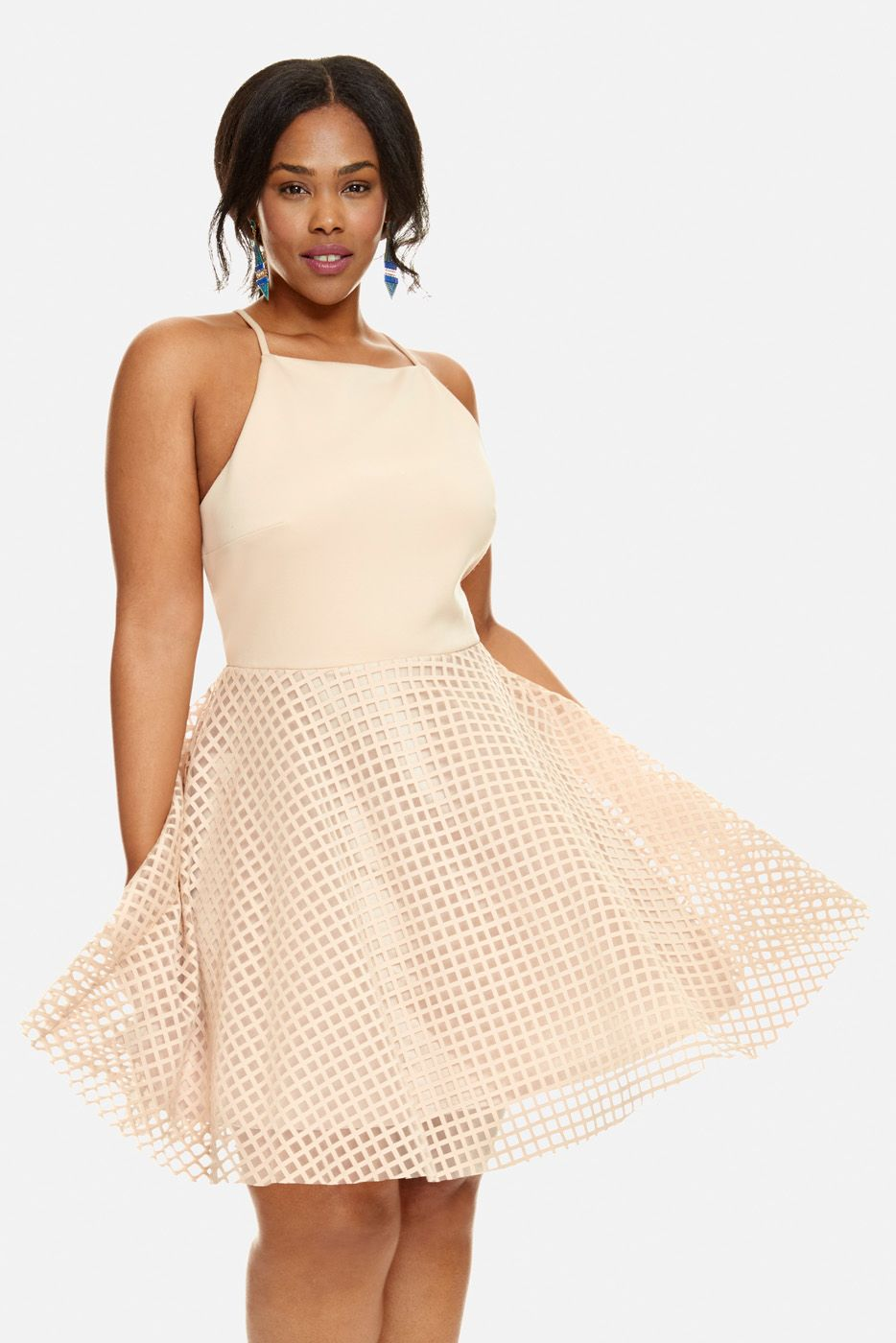Plus Size Reese Mesh Grid Fit And Flare Dress Plus Size Heaven