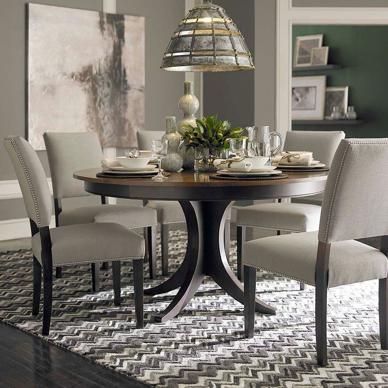 Transitional Dining Room Furniture: Transitional Dining Room With Hardwood Floors, Pendant