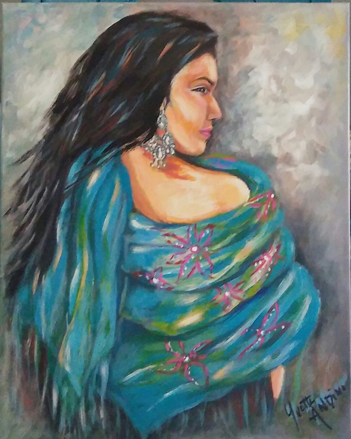 Original painting of Indian, gypsy, boho, hippie Girl with blue ...