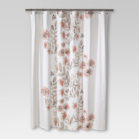 Blooms Flat Weave Shower Curtain Coral Threshold In 2020 Diy