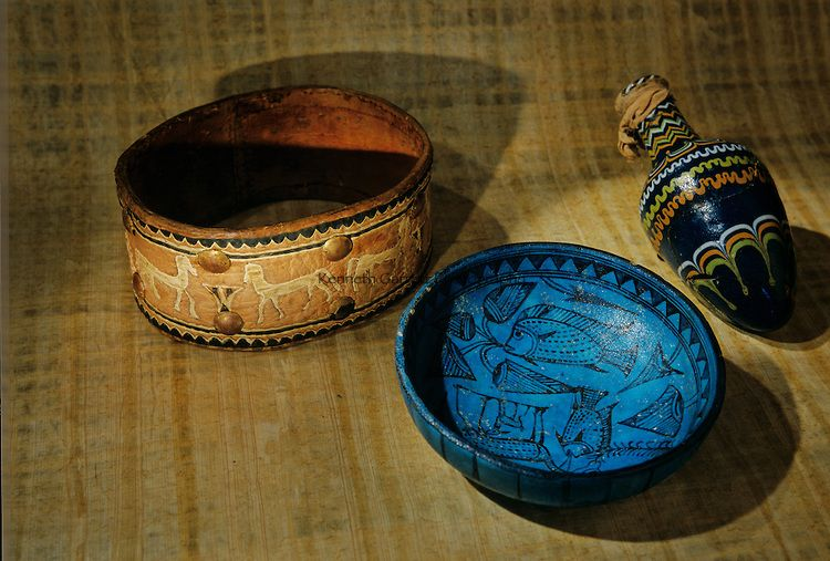Dog Collar; Faience bowl; Glass perfume bottle; Reign of Amenhotep II to Thutmosis IV, Tomb of Maiherpri, KV36,Tutankhamun and the Golden Age of the Pharaohs, Page 66 bottom