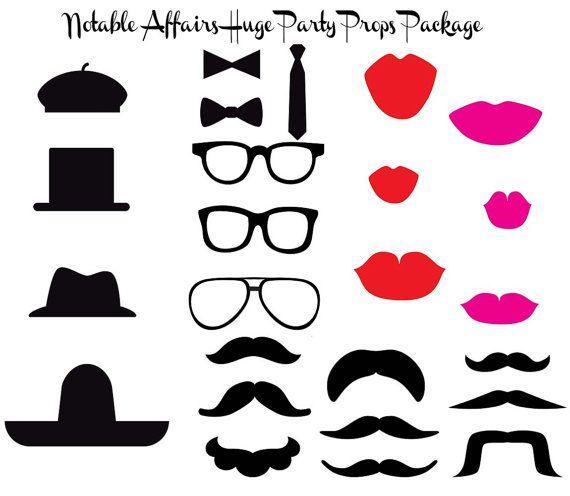 25f41b5750 Perfecto para imprimir paquete Props - sombreros, bigotes, los labios,  gafas y lazos - para fiestas, bodas, duchas y cabinas fotográficas