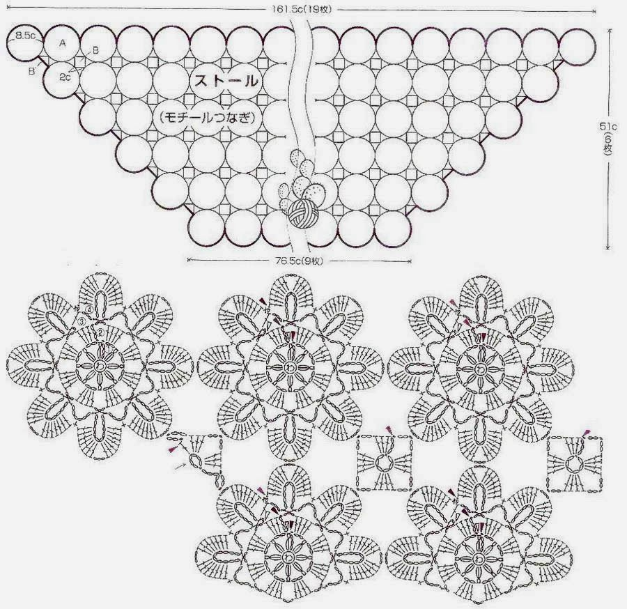 Shawl Crochet Pattern - Flower Motif | Chal de ganchillo, Chal y Las ...