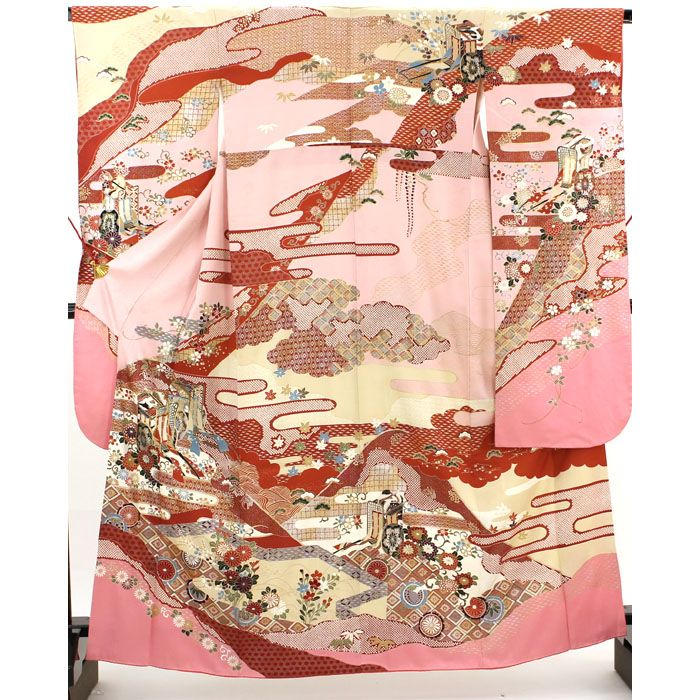 桃色の地に、紗綾形地文が全体に入っています。 赤やベージュの雲取りに、松やかすみ、七宝や鹿子柄や御所車が入った豪華な袋帯です。 一部に金コマ刺繍が施されています。  <シチュエーション> 豪華な袋帯などと合わせて、お召し頂けます。    【楽天市場】振袖 桃 紗綾形地文 赤やベージュの雲取りにし七宝や、菱、御所車 【中古】【リサイクル着物・リサイクルきもの・アンティーク着物・中古着物】:ビスコンティ&きもの忠右衛門