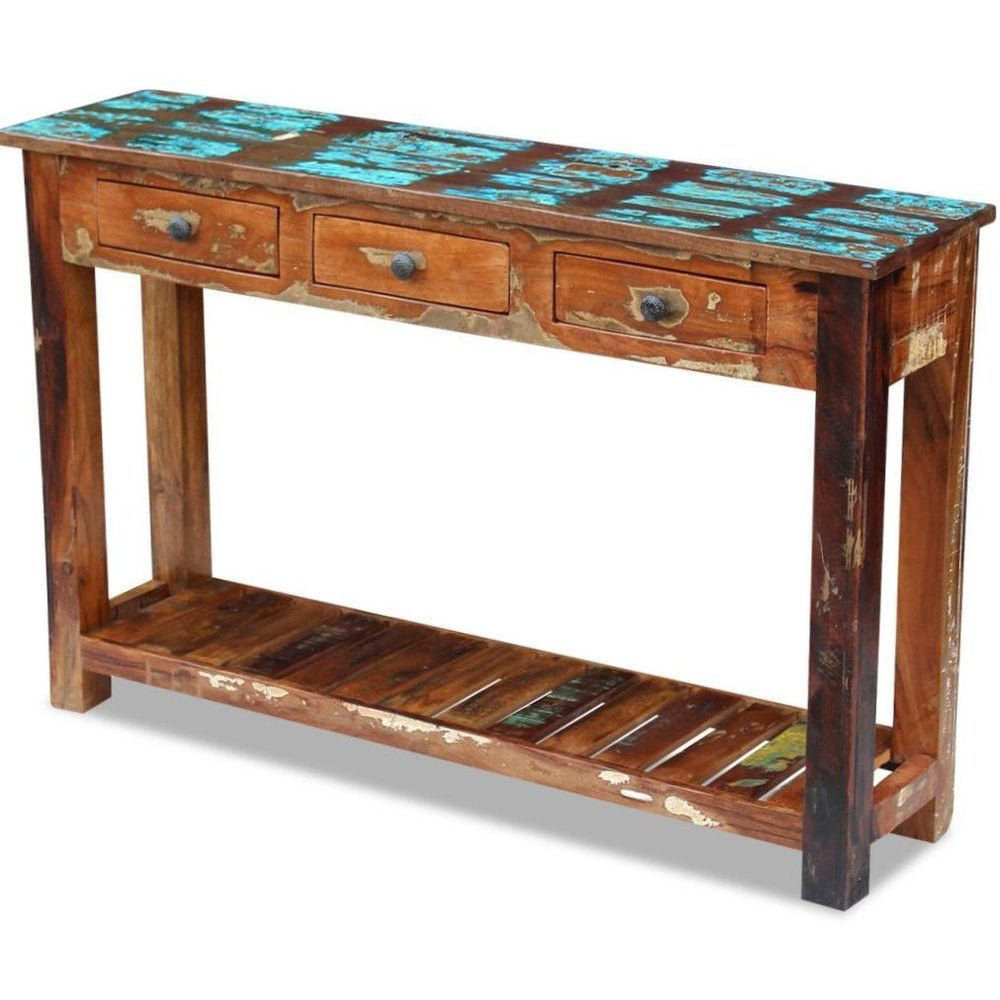 Vintage Retro Console Table Side Sideboard Drawer Cabinet Wooden