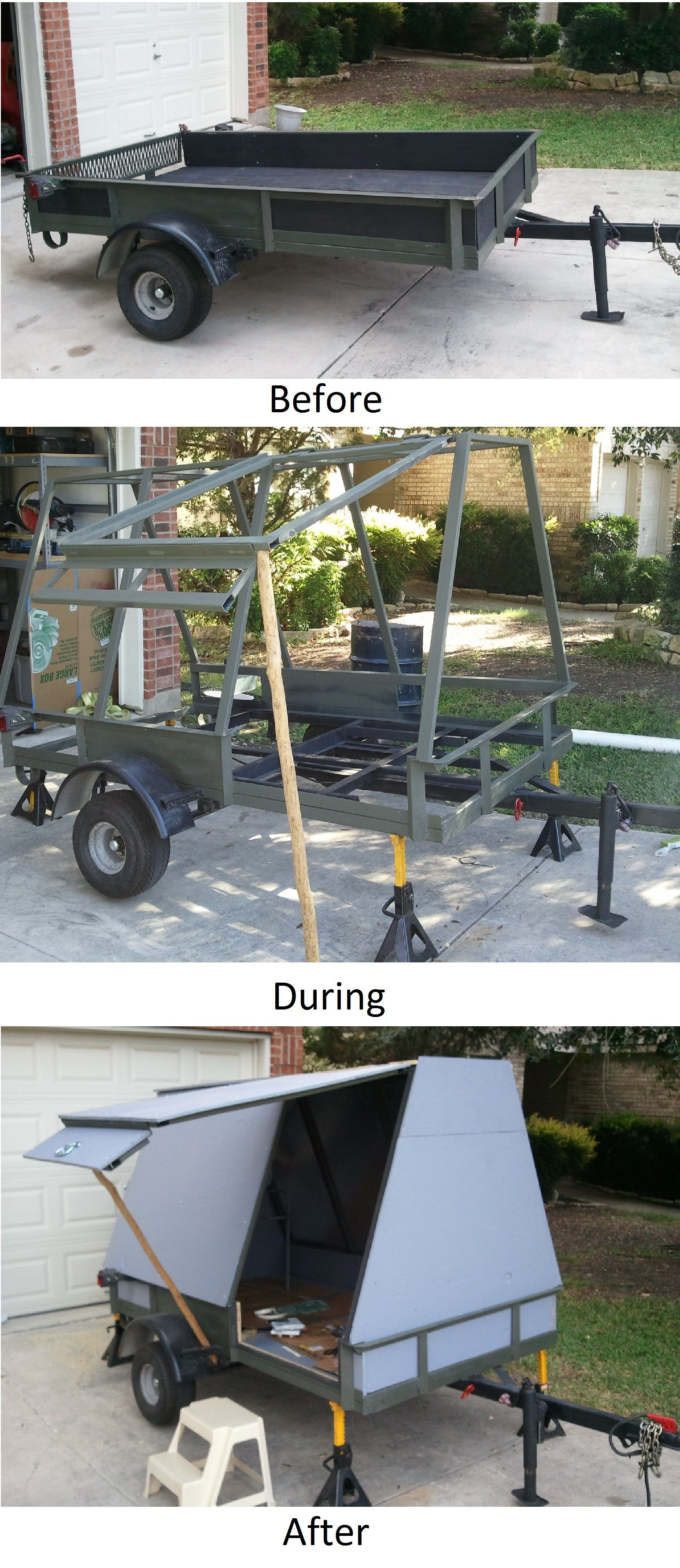 Converting a utility trailer into a camper, steel frame and plywood ...