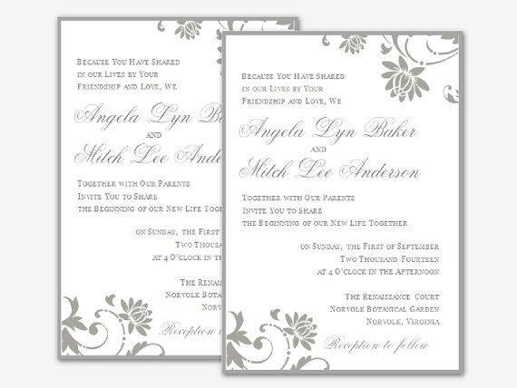 Editable Microsoft Word Floral Wedding Invitation by Digidigi - invite templates for word