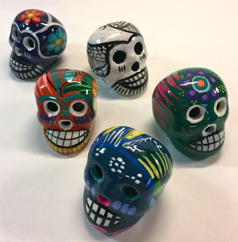 Small Authentic Mexican Painted Ceramic Skull Sugar Skull Day Of The Dead Dia De Los Muertos By Yatsdomino On Etsy Ceramic Painting Skull Painting Sugar Skull