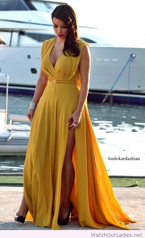 Kim Kardashian wonderful yellow long dress | Dress yellow ...