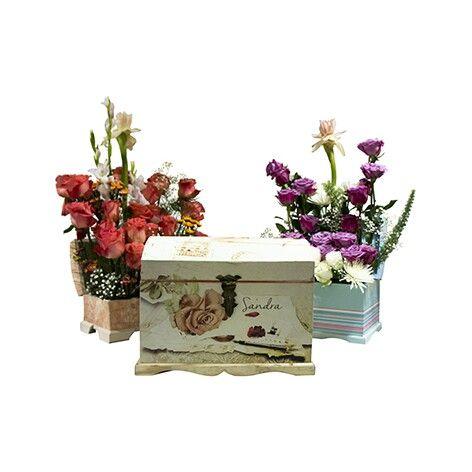 Baules personalizados con flores, dia de la madre