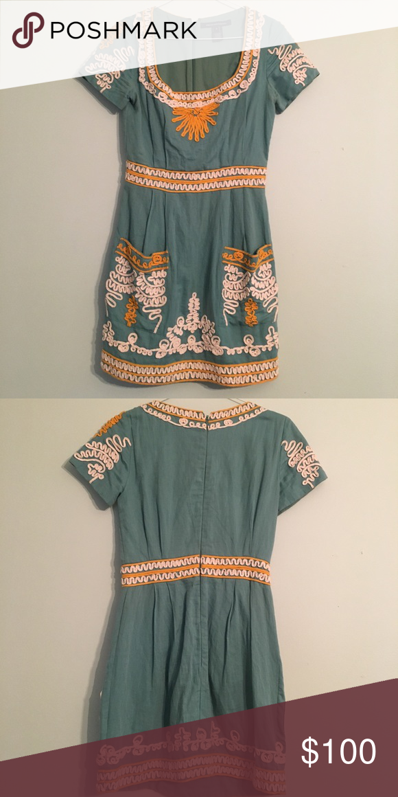 0cdf21d4a9552 Embroidered French Connection Dress Turquoise dress with sunshine yellow  and cream embroidered details. French Connection Dresses Mini