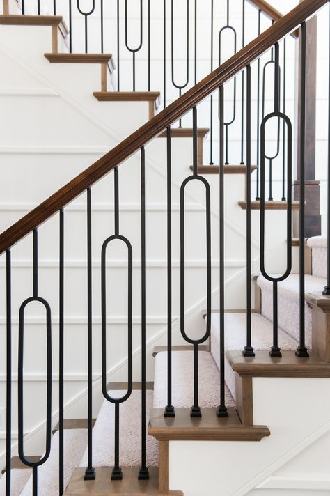 Modern Farmhouse Staircase Iron Baluster Design Ideas