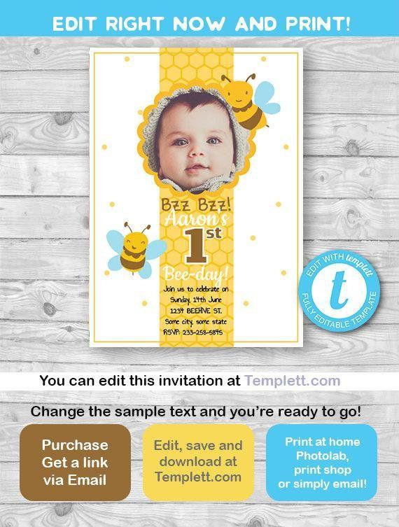 BEE INVITATION Bee Day Invitation Birthday 1st Bumblebee