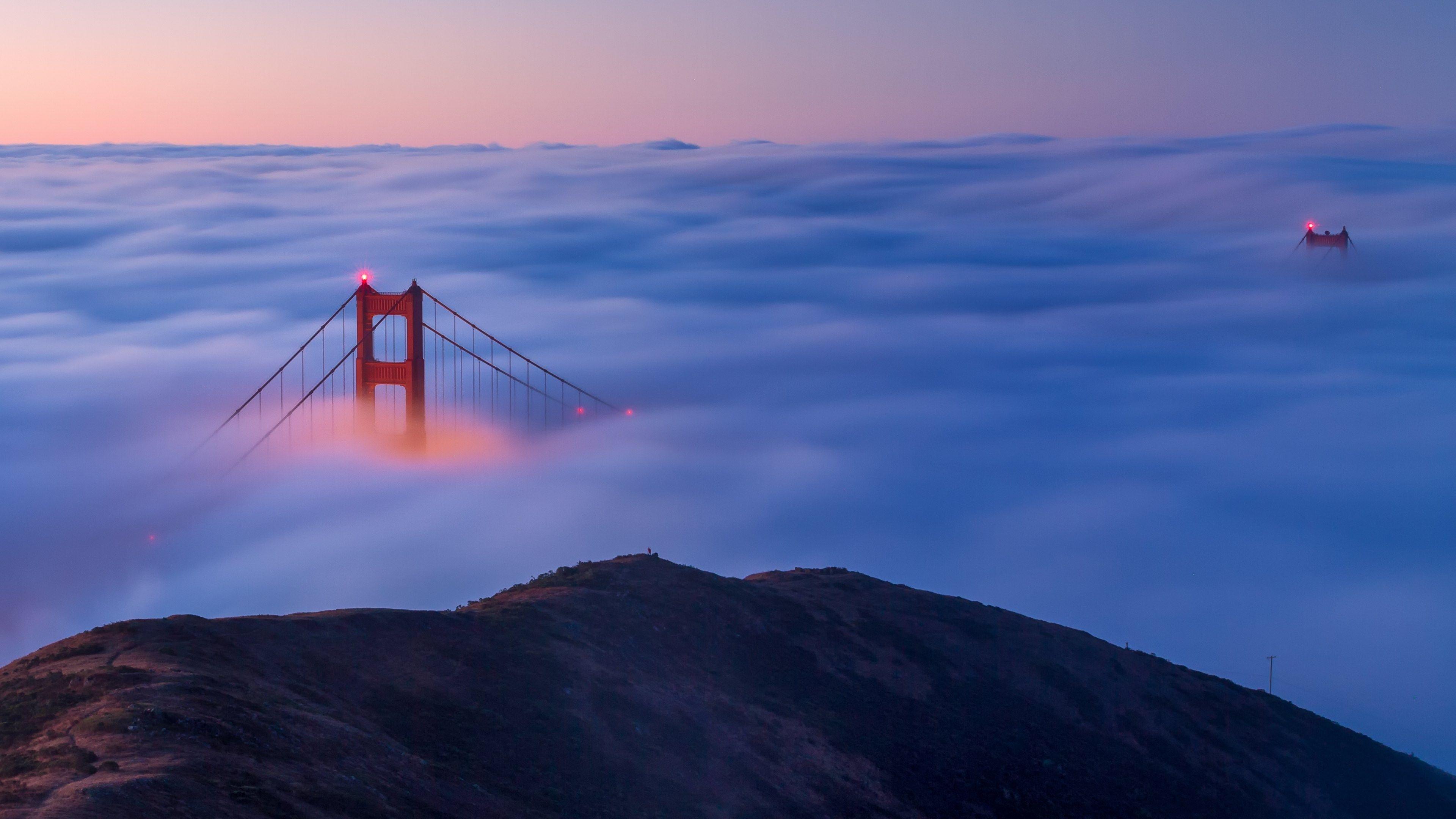Golden Gate Bridge Enveloped by Fog HD Desktop Wallpaper for