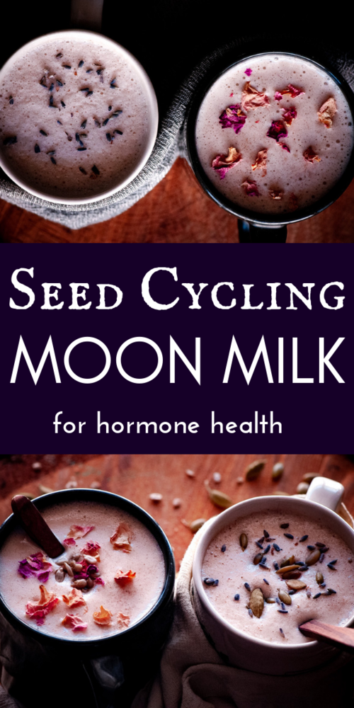 Seed Cycling Moon Milk For Hormone Health (Vegan) These vegan moon milk recipes make a perfectly healthy, easy & delicious way to balance your hormones with the use of seed cycling for hormone balance. These seed cycling moon milk recipes contain powerful nutrient-dense ingredients such as sunflower seeds, pumpkin seeds, rose petals, cardamom, cinnamon, coconut oil and lavender to complement your follicular & luteal reproductive phases to bring you more in sync with the moon & restore healthy menstrual cycles!