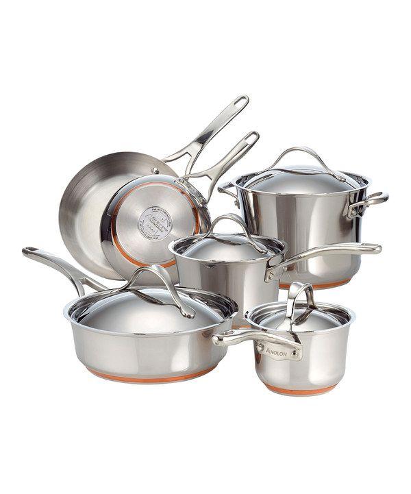 Kitchenaid Pot And Pan Set anolon nouvelle stainless steel 10-piece cookware set | cookware