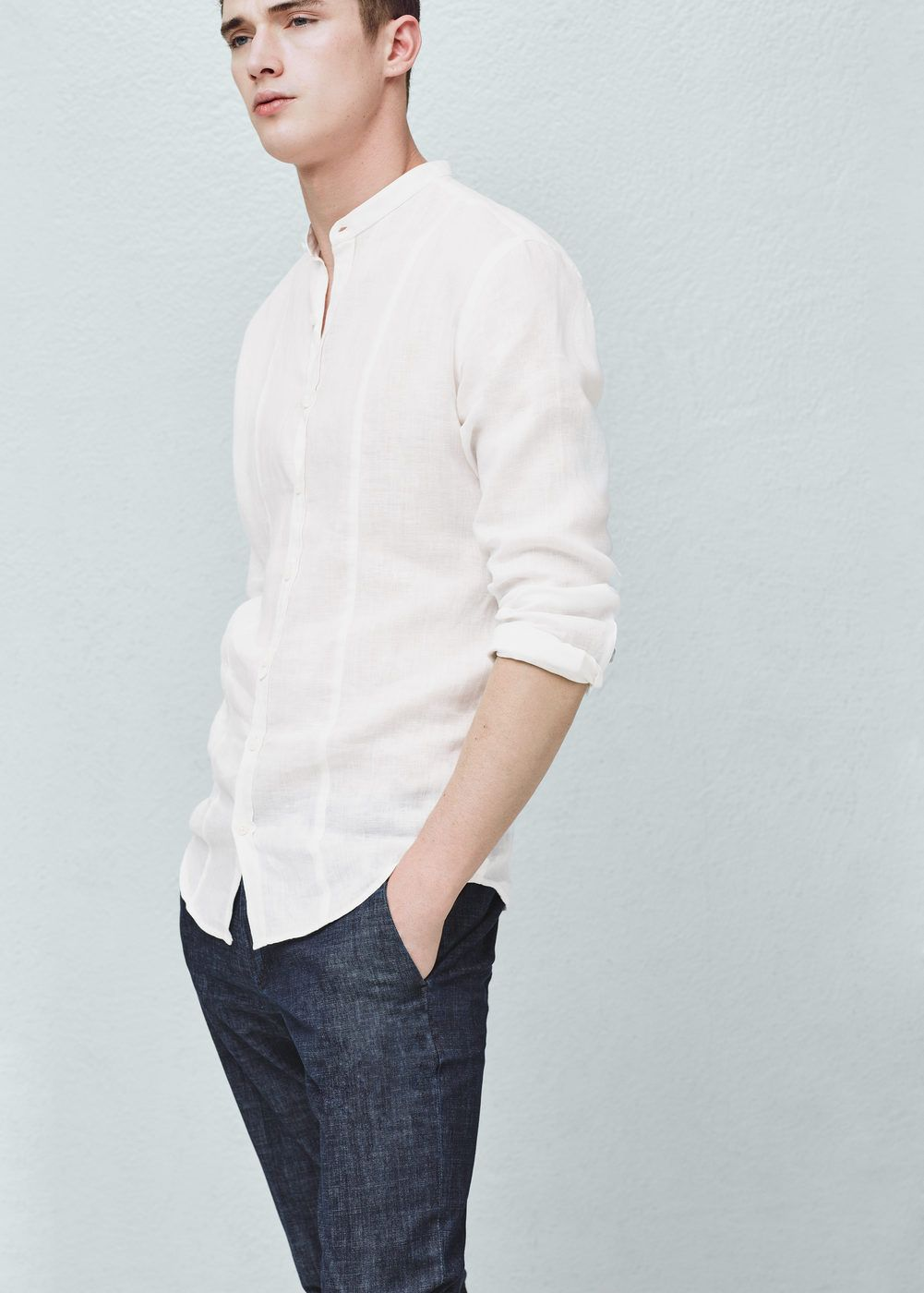 Camisa slim-fit lino cuello mao - Camisas de Hombre  0761fe82986