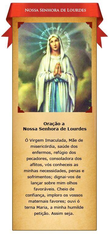 Oracao A Nossa Senhora De Lourdes Oracao Oracao Nossa Senhora