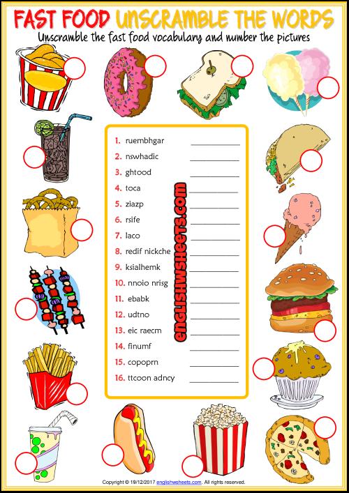 Fast Food ESL Printable Vocabulary Worksheets English