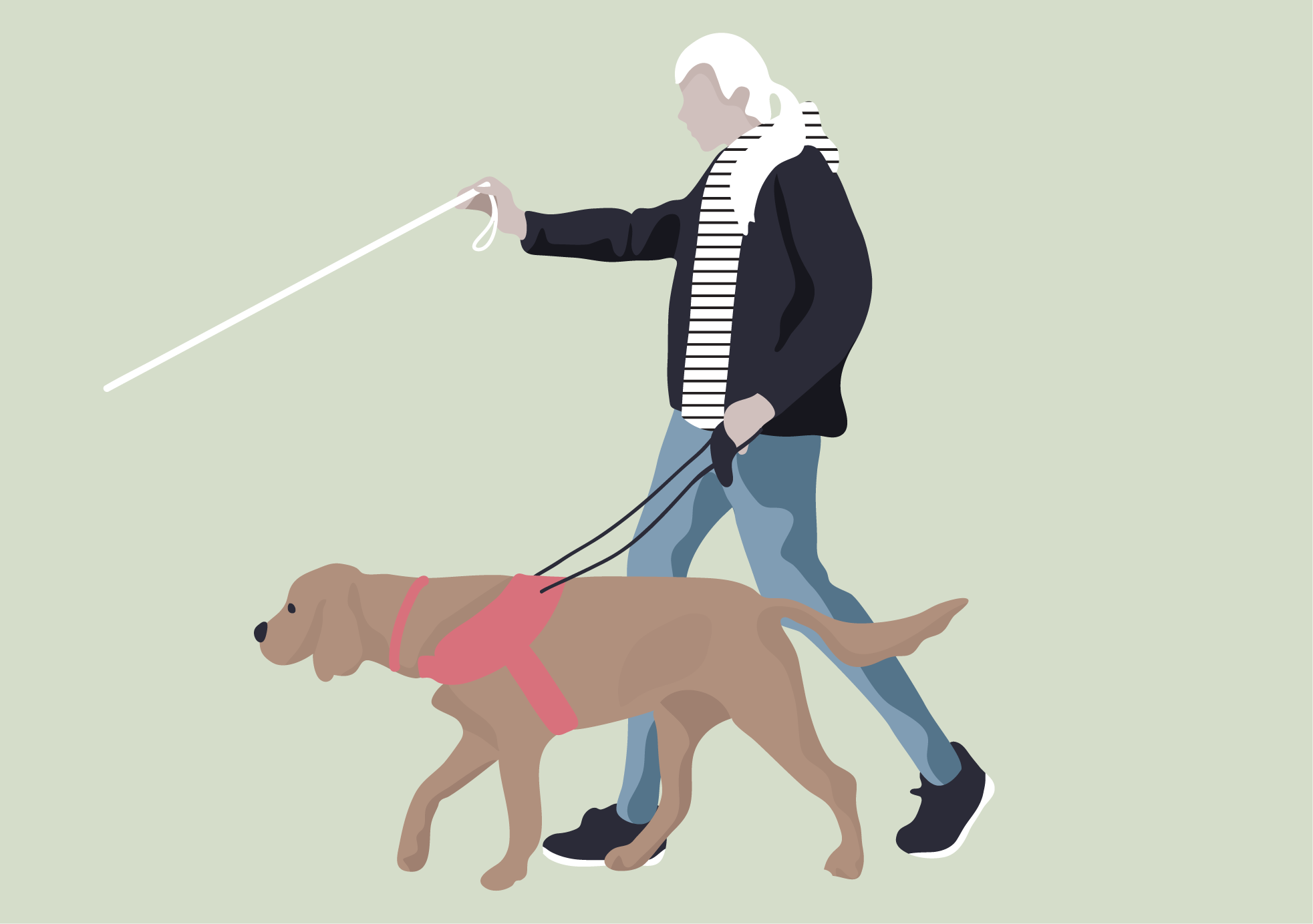 Flat Vector Blind Man With A Dog Illustration People Illustration Beginner Photo Editing Photoshop Actions