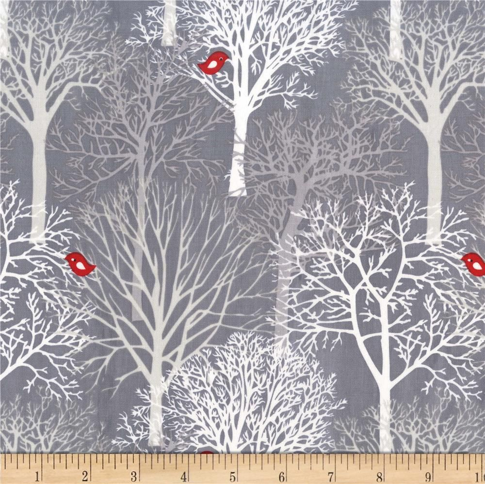 Kaufman Black & White Scenic Charcoal #birdfabric