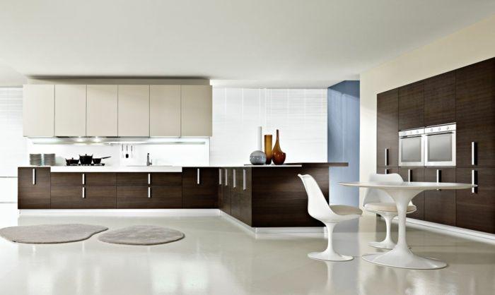 feng shui farben großraum küche hochglanz weiß dunkles holz - küchenzeile hochglanz weiß