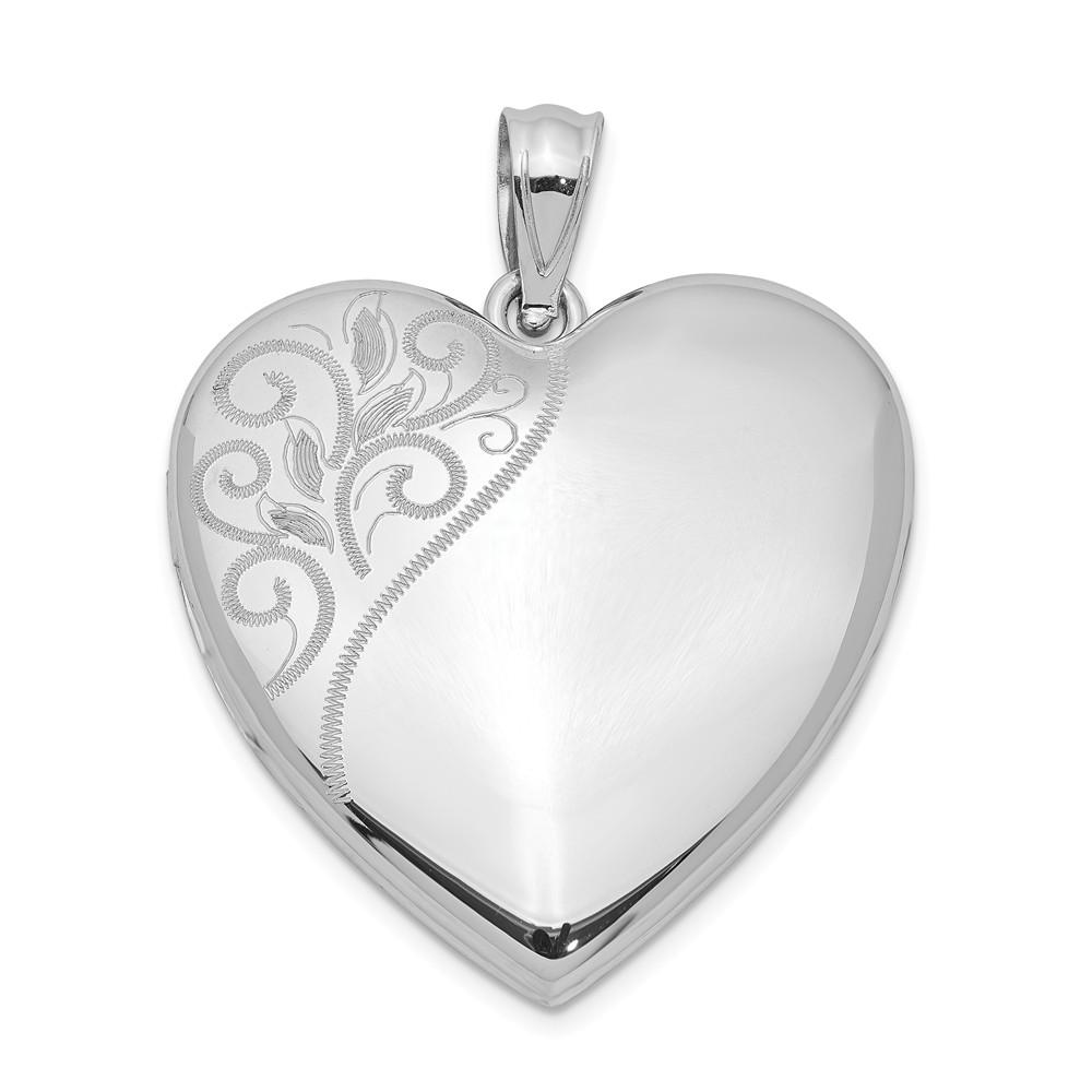 Sterling Silver Rose Gold-plated 20mm Polished Swirl Heart Locket Fine Jewelry