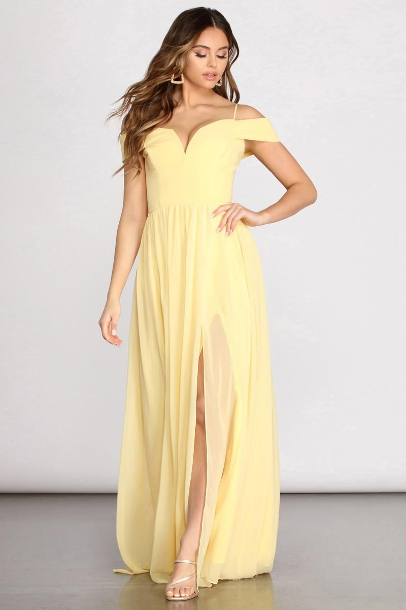 Daisy Off Shoulder A Line Dress In 2021 Prom Dresses Yellow Yellow Wedding Dress Yellow Long Dress [ 1200 x 800 Pixel ]